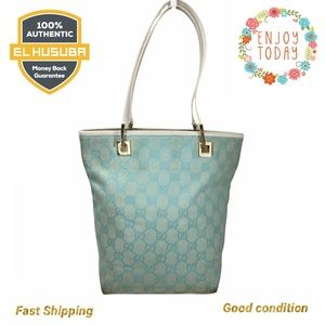 🌻💯 GUCCI TOTE BAG light blue canvas leather